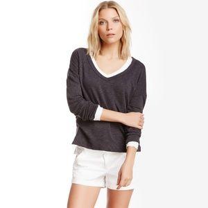 James Perse Boxy V-Neck Pullover Gray Size L